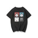 SLED DOGS Letter Animal Printed Round Neck Short Sleeve Tee