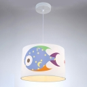 Fabric Round Hanging Light with Fish Pattern Kindergarten Single Head Suspended Lamp in White