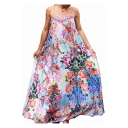 Spaghetti Straps Sleeveless Floral Printed Maxi Cami Beach Dress