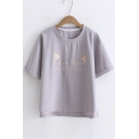 Letter Cat's Ears Embroidered Round Neck Short Sleeve Tee