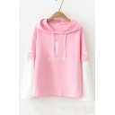 A NEW ONE Letter Number Embroidered Color Block Fake Two Pieces Long Sleeve Hoodie