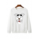 Cartoon Glasses Dog Printed Round Neck Long Sleeve Sweatshirt