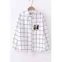 Cat Embroidered Plaid Printed Lapel Collar Long Sleeve Button Up Shirt