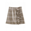 Button Front Ruffle Detail Plaid Printed Mini A-Line Skirt