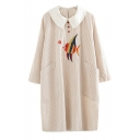 Contrast Lapel Collar Fish Embroidered Striped Printed Long Sleeve Midi Shift Dress