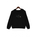 I WANNA Letter Bee Embroidered Long Sleeve Leisure Hoodie