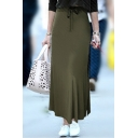 Slim Drawstring Waist Plain Maxi Pencil Skirt