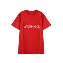Kpop Twice Korean Star AWESOME Letter Printed Round Neck Short Sleeve T-Shirt