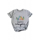 HAPPY Letter Pyramid Printed Round Neck Short Sleeve Tee