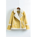 Notched Lapel Collar Long Sleeve Plain Warm Lamb Wool Jacket