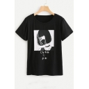 Japanese Cartoon Girl Printed Round Neck Short Sleeve T-Shirt