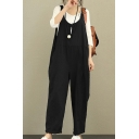 Plain Round Neck Sleeveless Loose Overall Jumpsuit
