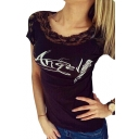 Lace Insert Wing Letter Printed Hollow Out Back Short Sleeve Round Neck Tee