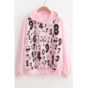 Number Cartoon Printed Long Sleeve Hoodie