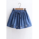 Drawstring Waist Dog Embroidered Loose Denim Culottes