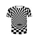 3D Swirl Monochrome Printed Short Sleeve Round Neck T-Shirt