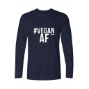 VEGAN Letter Printed Round Neck Long Sleeve Leisure T-Shirt