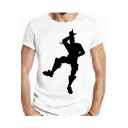 Comic Character Shadow Printed Round Neck Short Sleeve T-Shirt