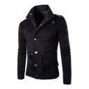 Stand Up Collar Plain Long Sleeve Zip Up Front Jacket with Multi Pockets