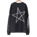 Lace Up Front Star Printed Round Neck Long Sleeve Sweatshirt
