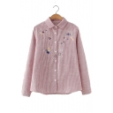 Star Embroidered Striped Printed Lapel Collar Long Sleeve Button Front Shirt