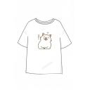 Chinese Dog Printed Short Sleeve Leisure Round Neck Unisex Tee