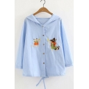 Cartoon Squirrel Embroidered Button Down Long Sleeve Sun Proof Hooded Coat