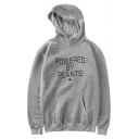 POWERED BY PLANTS Letter Printed Long Sleeve Casual Hoodie