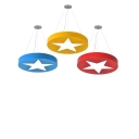 Round Shade Pendant Light with Star Design Game Room Acrylic Suspension Light in Blue/Yellow/Red