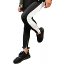 Color Block Zipper Vent Cuff Drawstring Waist Skinny Sports Pants