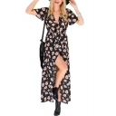 V Neck Short Sleeve Floral Printed Split Front Maxi Beach Dress