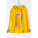 AND Letter Printed Striped Drawstring Bow Tie Embellished Cuff Long Sleeve Hoodie