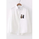 Two Cats Embroidered Button Up Long Sleeve Lapel Collar Leisure Shirt