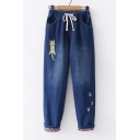 Lovely Paw Cat Embroidered Drawstring Waist Straight Jeans