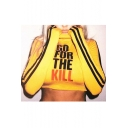 Contrast Striped Long Sleeve GO FOR THE KILL Letter Printed High Neck Skinny Crop Top
