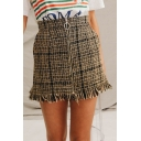 High Waist Zip Up Fringe Hem Plaid Printed Mini Pencil Skirt