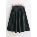 Button Front Elastic Waist Plaid Printed Midi A-Line Skirt