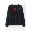Lace Up Front Heart Embroidered Round Neck Long Sleeve Sweatshirt