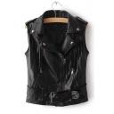 Cool Tassel Embellished Notched Lapel Collar Sleeveless Zip Up PU Vest