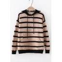 Contrast Trim Striped Printed Long Sleeve Leisure Hooded Sweater