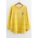V Neck Cat Embroidered Button Side Long Sleeve Hollow Out Detail Tee