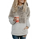 Color Block Zippered High Neck Long Sleeve Warm Faux Fur Sweater
