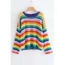 Round Neck Long Sleeve Rainbow Striped Hollow Out Knit Sweater