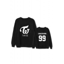Kpop Twice Korean Star Letter Graphic Printed Long Sleeve Round Neck Sweatshirt