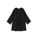 Lapel Collar Plain Long Sleeve Loose Open Front Coat