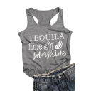 TEQUILA Letter Fruit Printed Round Neck Sleeveless Tank