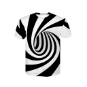 Comic Color Block Swirl Printed Short Sleeve Round Neck Casual Tee