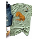 Cartoon Dinosaur Printed Short Sleeve Round Neck Casual T-Shirt