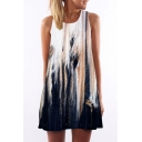 Round Neck Sleeveless Printed Mini A-Line Dress