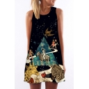 Astronaut Animal Galaxy Printed Round Neck Sleeveless Mini A-Line Dress
